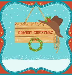 Cowboy Christmas card with western hat on winter vector