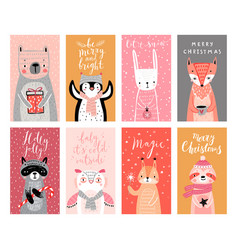 Cute cards with woodland animals celebrating vector