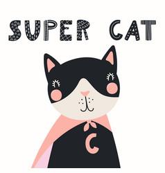 Cute super hero cat vector