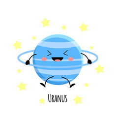 cute uranus planet kawaii characters vect vector image