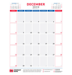 december 2019 calendar planner stationery design vector image