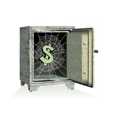 Dollar sign on spiderweb inside of an open safe vector