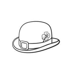 doodle bowler hat with buckle and clover vector image