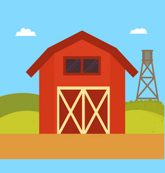 Farm house nature landscape vector