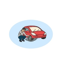 Flat tire on the road Man having Car Trouble vector