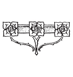 Floral tailpiece is three rose pattern vintage vector