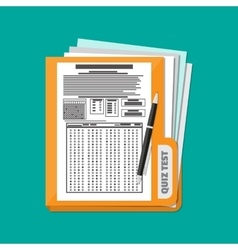 folder with exam test answer sheet and pen vector image