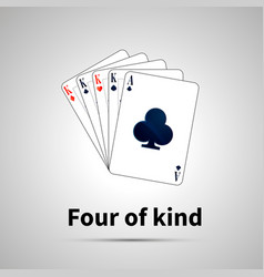 Four of kind poker combination on gray vector
