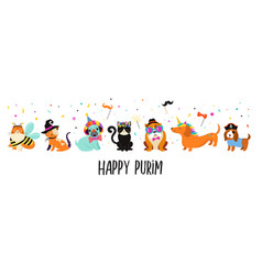Funny animals pets cute dogs and cats with a vector