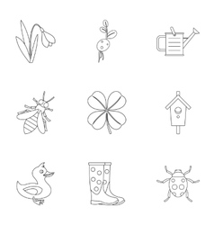 Garden maintenance icons set outline style vector
