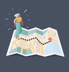 girl tourist in mountain walking map vector image