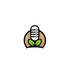 Green podcast logo microphone and leaf design vector