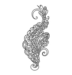 Hand drawn monochrome ornament for desing vector