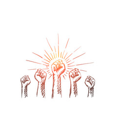 hand drawn raised hands with clenched fists vector image