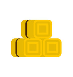 hay bundles icon flat style vector image