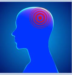 Headache male head with pain dot vector