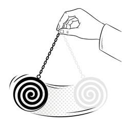 Hypnotizer pendulum in hand coloring book vector