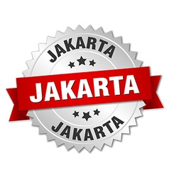 Jakarta round silver badge with red ribbon vector
