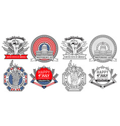 Label and logo design forth july united states vector