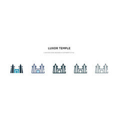 Luxor temple icon in different style two colored vector