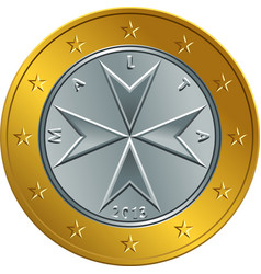 maltese money gold euro coin one euro vector image