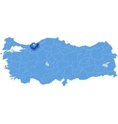 Map of Turkey Duzce vector