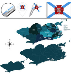 Map rio de janeiro with regions vector