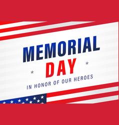 Memorial day usa flag light stripes banner vector