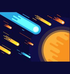 Meteor rain in space vector