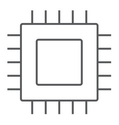 microchip core thin line icon electronic digital vector image