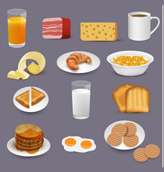morning food and drinks symbols breakfast icons vector image