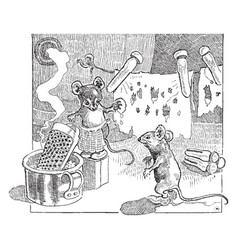 Mouse laundry vintage vector
