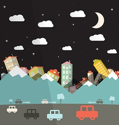 Night landscape with road and cars mountains with vector