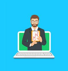 online business school male coach concept vector image