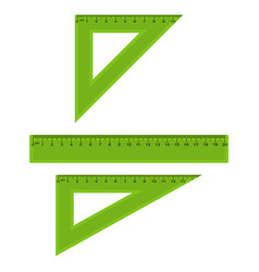 plastic measuring and triangle rulers set vector image