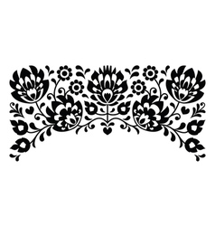 Polish floral folk embroidery black and white vector image