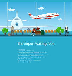 poster waiting room with passengers vector image