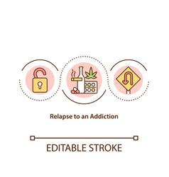 Relapse to an addiction concept icon vector