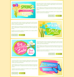 sale set of web posters stickers daffodils tulips vector image
