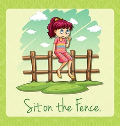 Saying sit on the fence vector image
