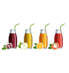 set of mock up of fruit juice in a glass jars vector image