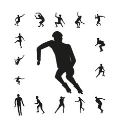 Set people on roller skates silhouette vector