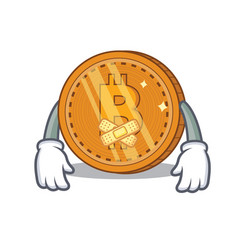 Silent bitcoin coin character cartoon vector