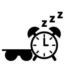 sleep clock and mask white background vector image