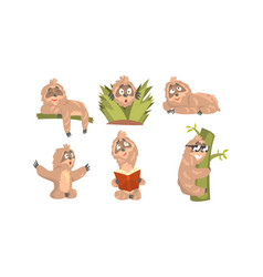 sloth cartoon character expressing different vector image