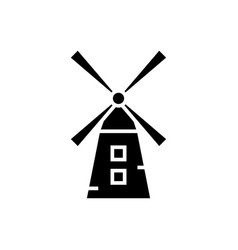 small windmill icon blac vector image