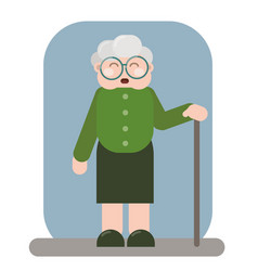 Smiling old woman in old clothes with cane vector