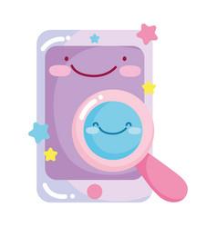 social networks cartoon smartphone analysis icon vector image