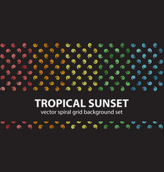 Spiral pattern set tropical sunset seamless vector