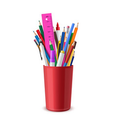 Stationery are in red plastic cup pens pencils vector